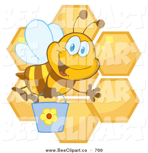 Cartoon Vector Clip Art of a Cute Happy Bee Waving and Carrying a Bucket over Honeycombs