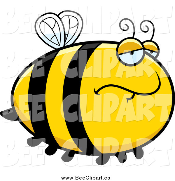 Cartoon Vector Clip Art of a Depressed Bee
