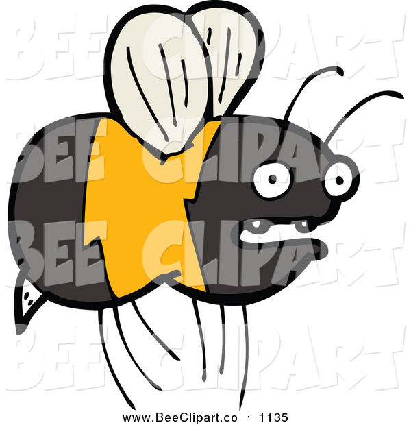 Cartoon Vector Clip Art of a Flying Bee