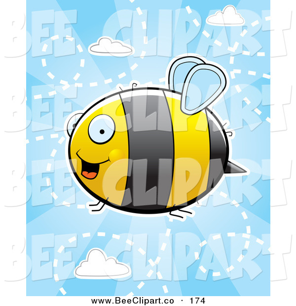 Cartoon Vector Clip Art of a Flying Bumblebee in a Cloudy Blue Sky
