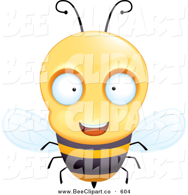 Cartoon Vector Clip Art of a Friendly and Curious Humanoid Bee