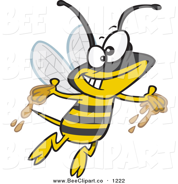 Cartoon Vector Clip Art of a Gleeful Bee with Honey on His Hands