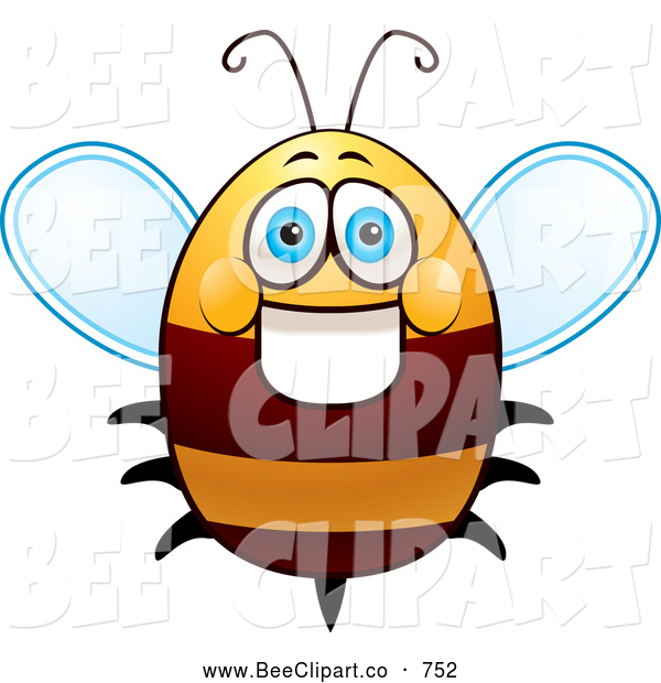 Cartoon Vector Clip Art of a Happy and Friendly Fat Bee