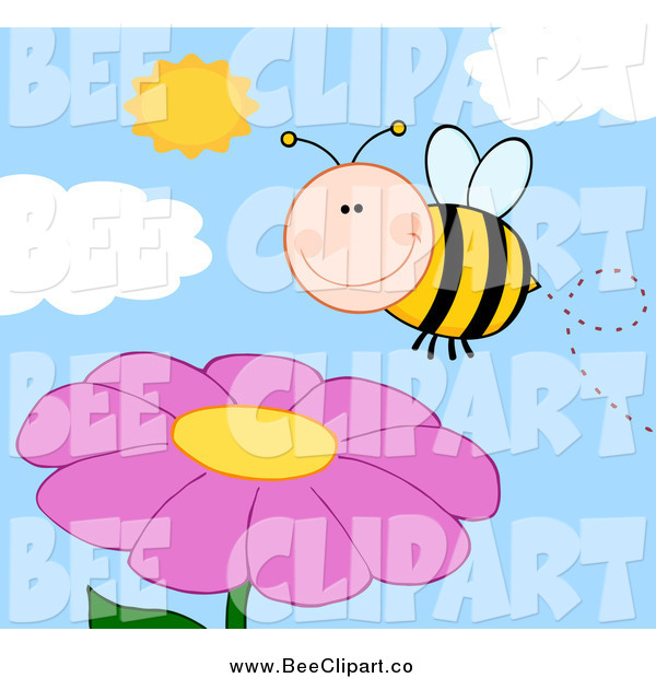 Cartoon Vector Clip Art of a Happy Bee Smiling over a Pink Flower and Sky