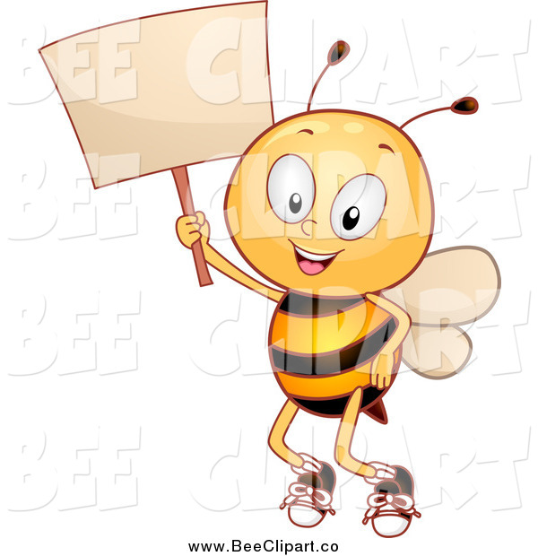 Cartoon Vector Clip Art of a Happy Bee Student Holding a Sign