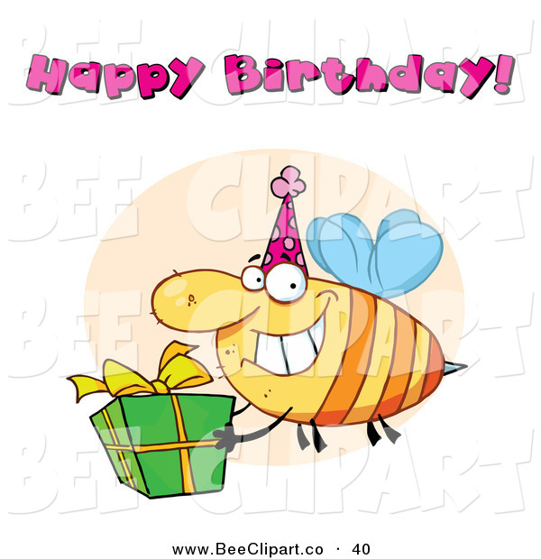 Cartoon Vector Clip Art of a Happy Birthday Text Above a Yellow Bee Wearing a Party Hat and Carrying a Present
