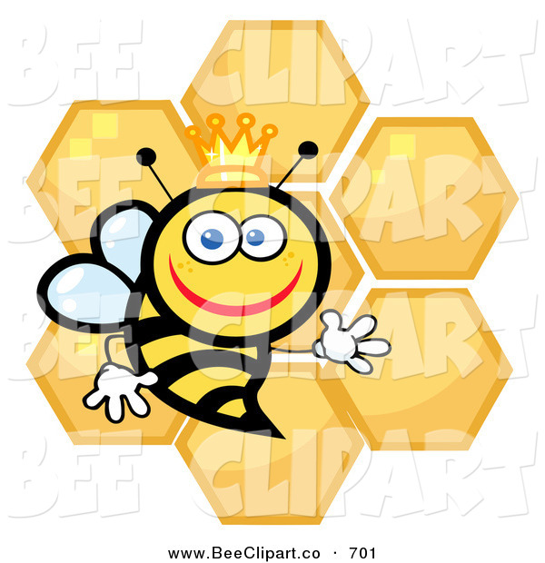 Cartoon Vector Clip Art of a Happy Queen Bee with Honey Combs on White