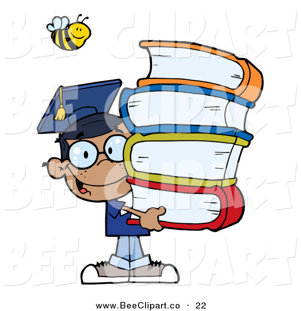 Cartoon Vector Clip Art of a Helpful Bee over a Happy African American Graduate School Boy Carrying a Stack of Books