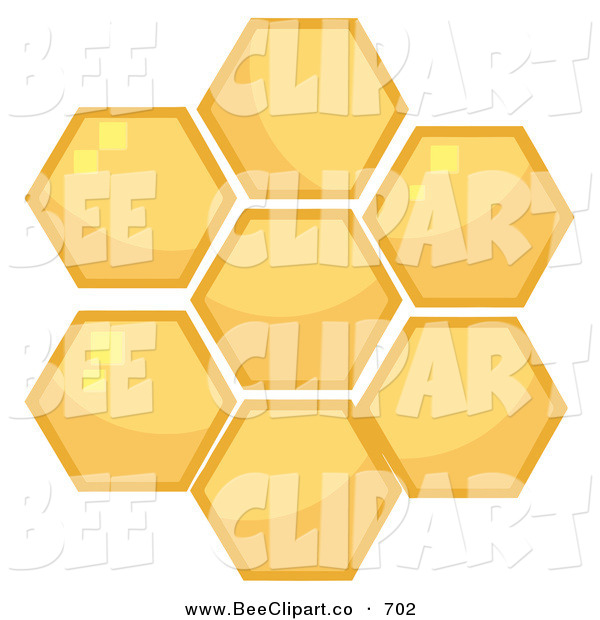 Cartoon Vector Clip Art of a Honey Combs in a Hive on White