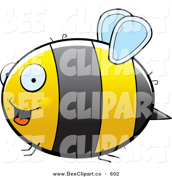 Cartoon Vector Clip Art of a Large Striped Chubby Bumble Bee with Tiny Wings Flying in Profile