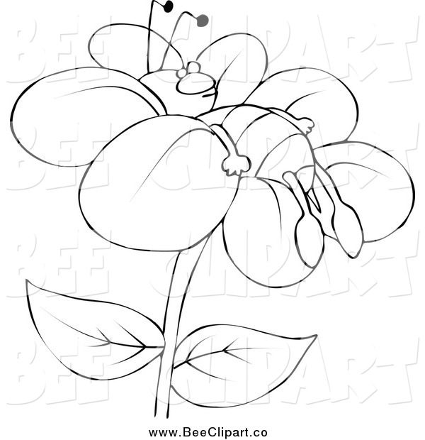 Cartoon Vector Clip Art of a Lineart Tired Bee Resting on a Flower