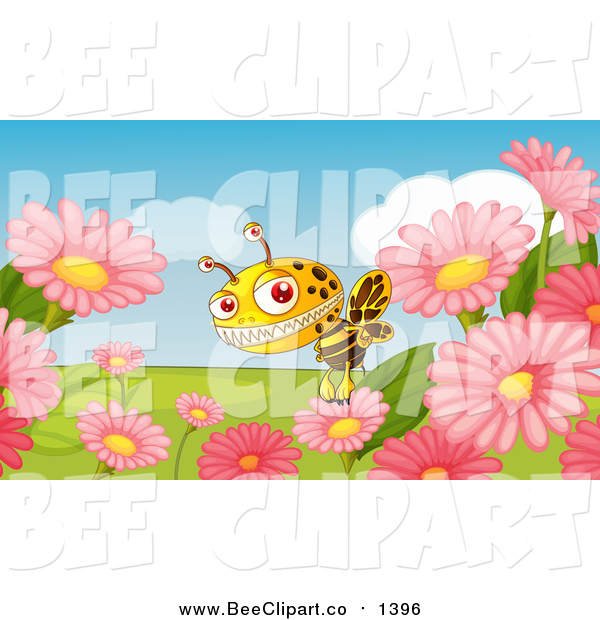 Cartoon Vector Clip Art of a Monster Bee and Flowers