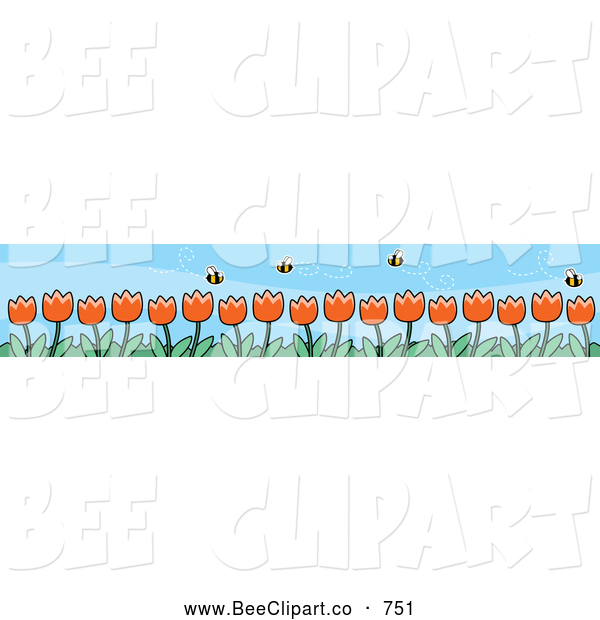 Cartoon Vector Clip Art of a Pretty Border of Spring Tulips and Pollinating Bees
