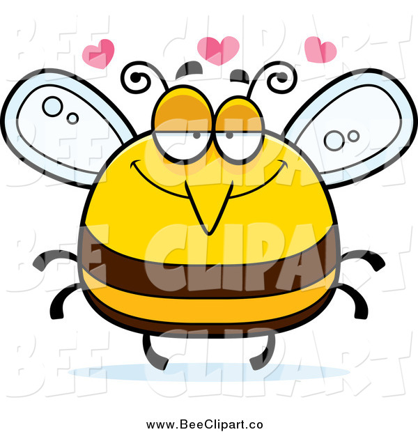 Cartoon Vector Clip Art of a Pudgy Infatuated Bee with Hearts