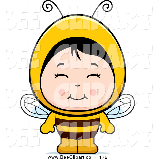 Cartoon Vector Clip Art of a Smiling Asian Girl in a Bee Costume