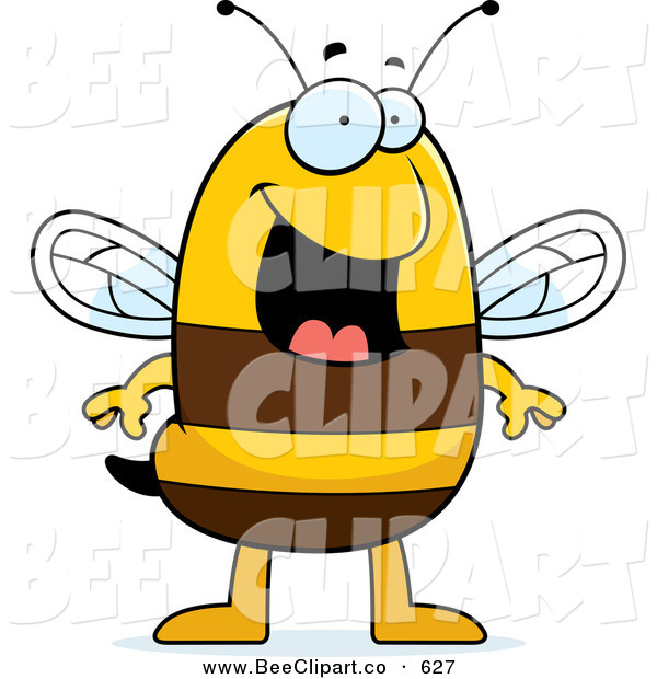 Cartoon Vector Clip Art of a Smiling Happy Striped Bee Character Standing