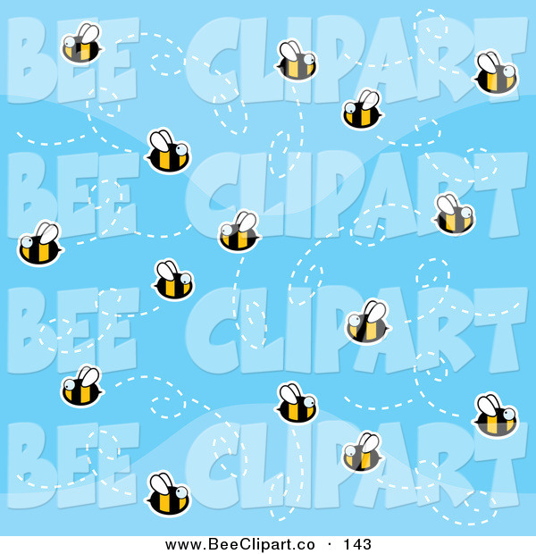 Cartoon Vector Clip Art of a Swarm of Bees in a Patterned Blue Sky