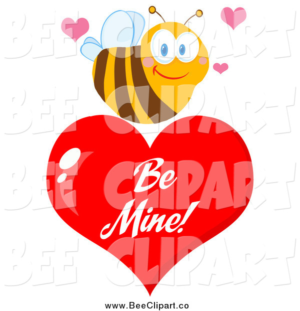 Cartoon Vector Clip Art of a Sweet Bee over a Red Be Mine Valentine Heart