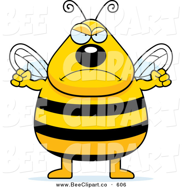 Cartoon Vector Clip Art of a Tall Plump Angry Bee Getting Ready to Punc