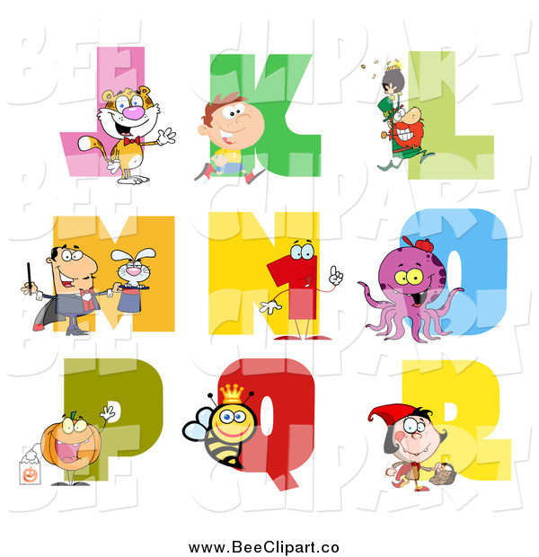 Cartoon Vector Clip Art of a Visual Alphabet J Through R with People, Animals and Bugs