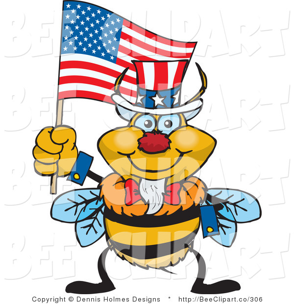 Cartoon Vector Clip Art of an American Patriotic Uncle Sam Bumble Bee Waving an American Flag on Independence Day