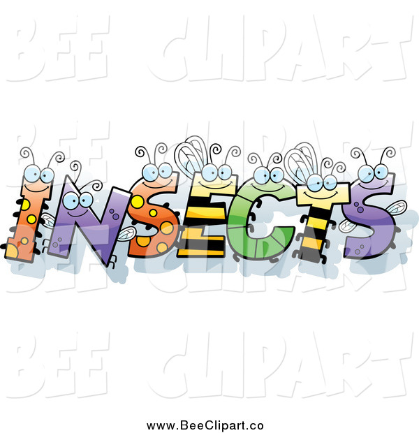 Cartoon Vector Clip Art of Bug Letters Spelling the Word INSECTS