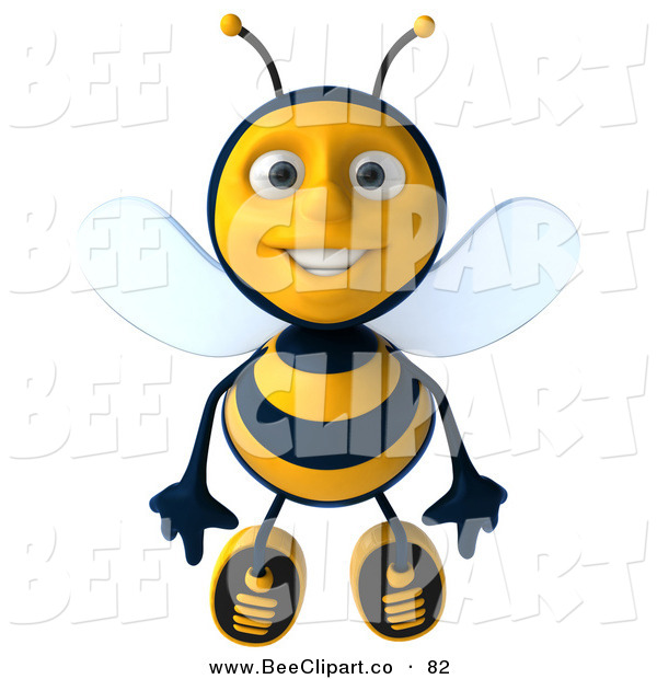 Clip Art of a 3d Bee Character Flying Forward