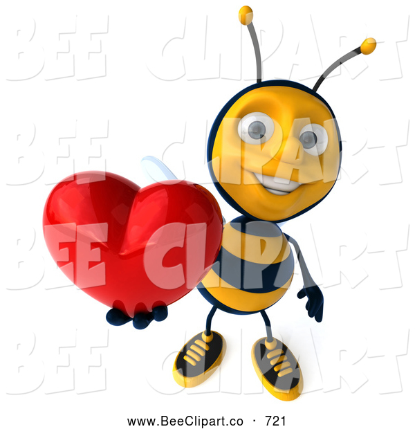 Clip Art of a 3d Bee Character Holding a Heart on White