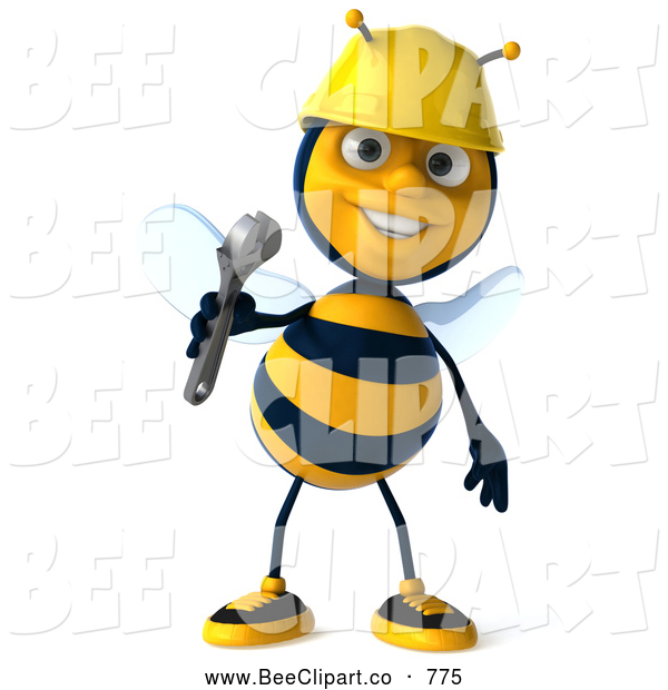 Clip Art of a 3d Bee Character Holding a Wrench and Smiling