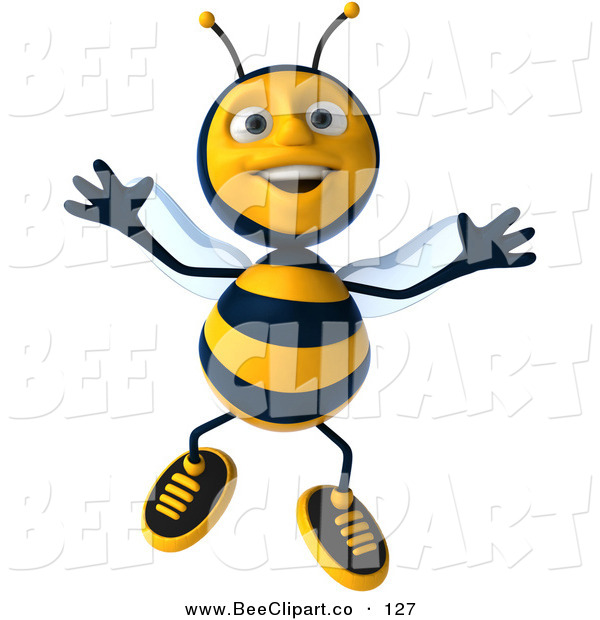 Clip Art of a 3d Bee Character Jumping up and down