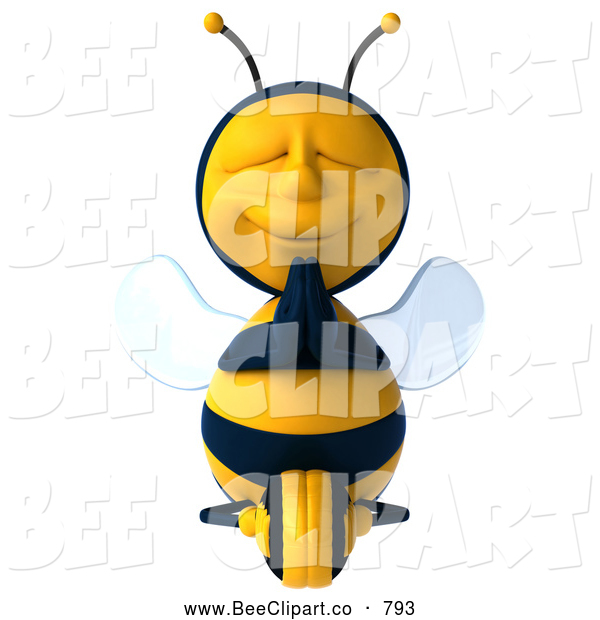 Clip Art of a 3d Bee Character Meditating Peacefully