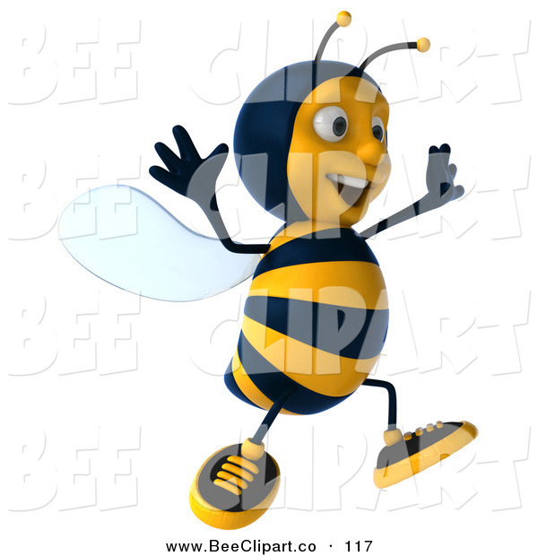 Clip Art of a 3d Bee Character Running off to the Right