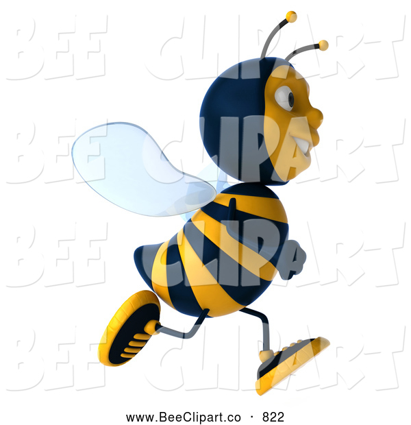 Clip Art of a 3d Bee Character Running to the Right