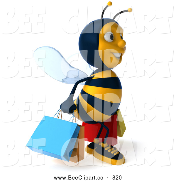 Clip Art of a 3d Bee Character Shopping and Looking Right