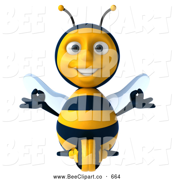 Clip Art of a 3d Bee Character Sitting and Meditating, on White
