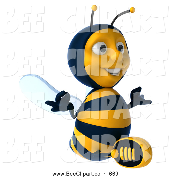 Clip Art of a 3d Bee Character Sitting and Meditating While Looking Right