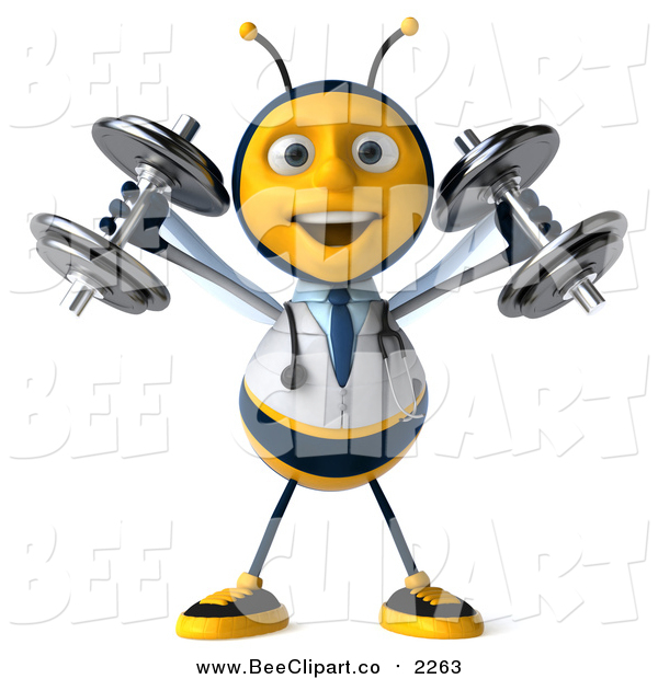 Clip Art of a 3d Bee Doctor Working out and Doing Shoulder Presses with Dumbbells