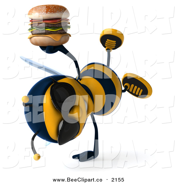 Clip Art of a 3d Bee Holding a Double Cheeseburger