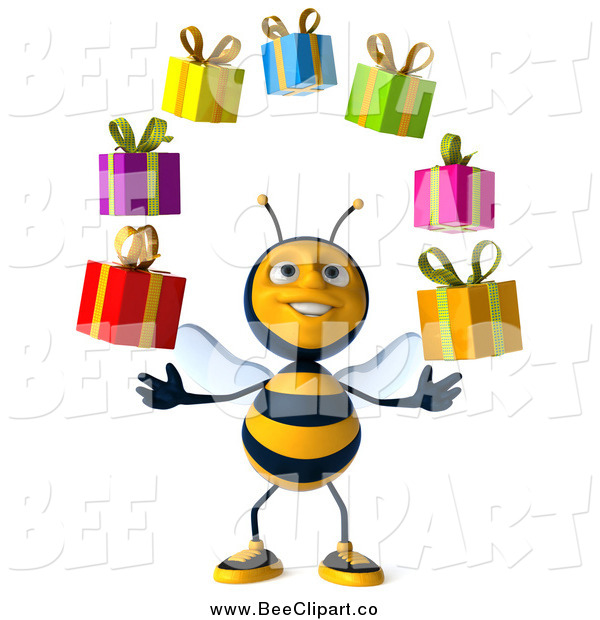Clip Art of a 3d Bee Juggling Gifts