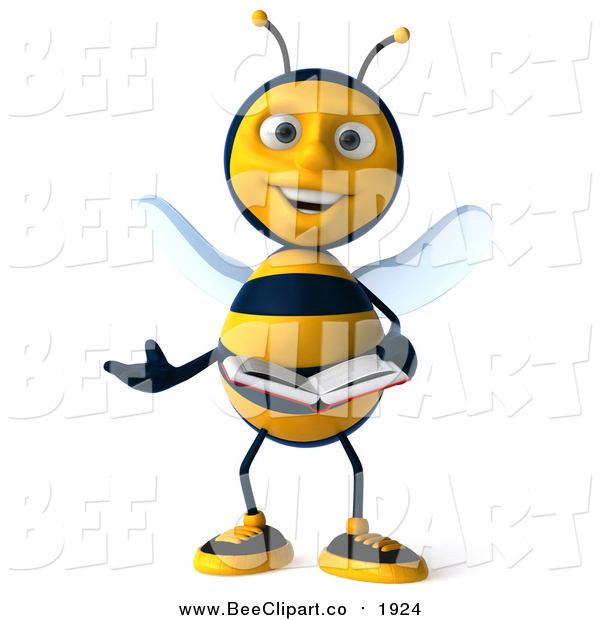 Clip Art of a 3d Bee Presenting and Reading a Book