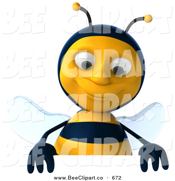 Clip Art of a 3d Bee Smiling down at a Blank Sign on White