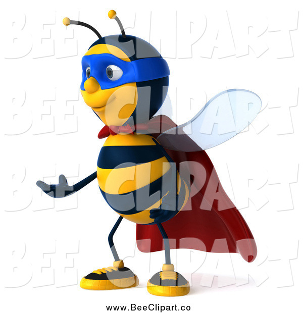 Clip Art of a 3d Bee Super Hero Facing Left and Gesturing