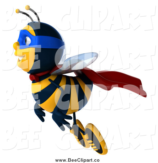 Clip Art of a 3d Bee Super Hero Flying