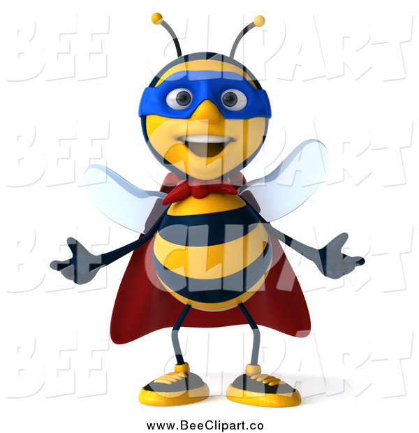 Clip Art of a 3d Bee Super Hero Gesturing