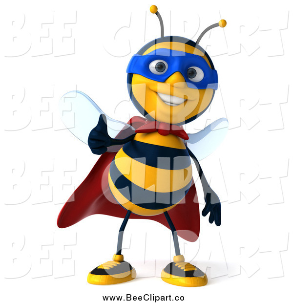 Clip Art of a 3d Bee Super Hero Holding a Thumb up