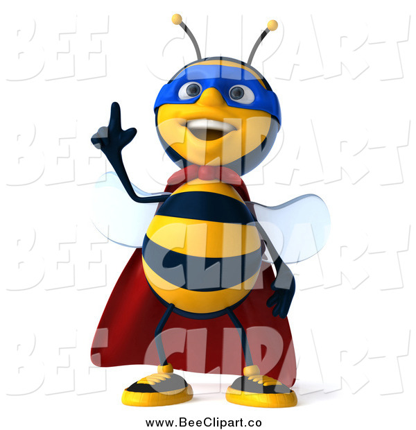 Clip Art of a 3d Bee Super Hero with an Idea