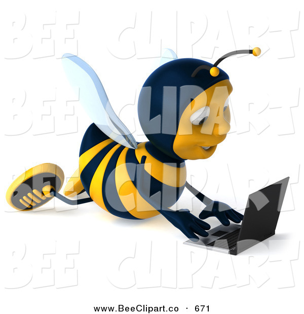 Clip Art of a 3d Bee Using a Laptop on the Floor on White
