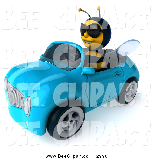 Clip Art of a 3d Bee Wearing Shades and Driving a Blue Convertible Car