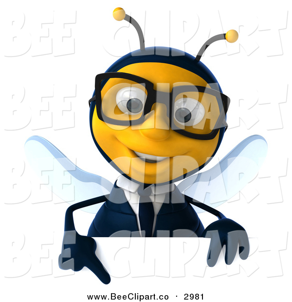 Clip Art of a 3d Bespectacled Business Bee Pointing down over a Sign Board