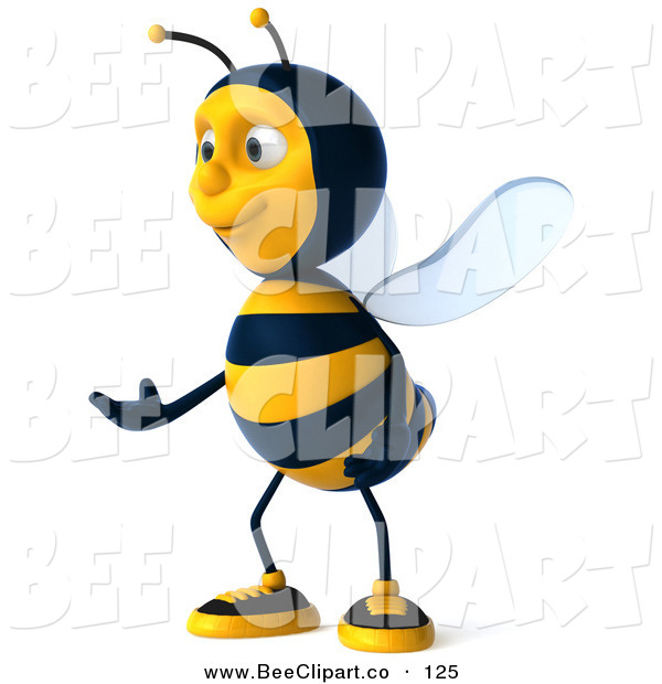 Clip Art of a 3d Bumble Bee Character Gesturing and Facing Left